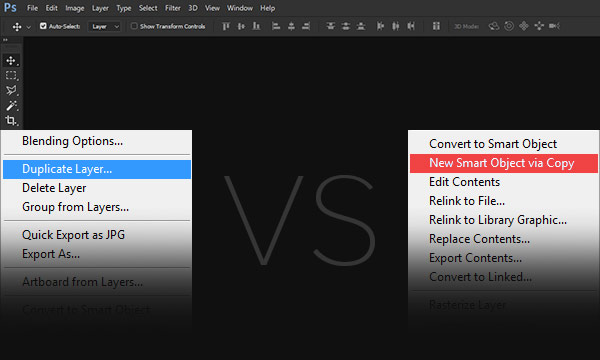 The Difference Between Duplicate Layer and New Smart Object via Copy
