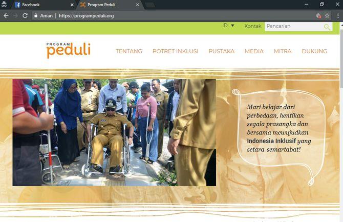 Halaman depan website Program Peduli