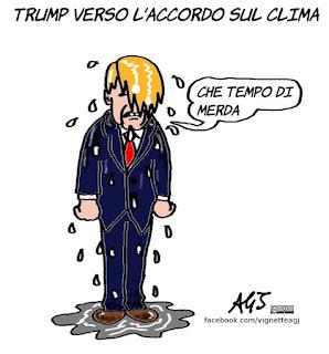 trump, riscaldamento globale, climate change, ambiente, accordo sul clima, vignetta, satira