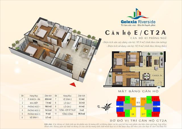 Thiết kế căn hộ E, dt 92m, 2 ngủ, tòa CT2A Gelexia Riverside