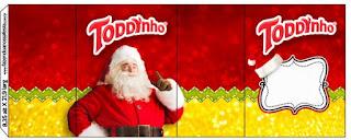 Etiquetas para Imprimir Gratis de Santa Claus en Rojo y Dorado.