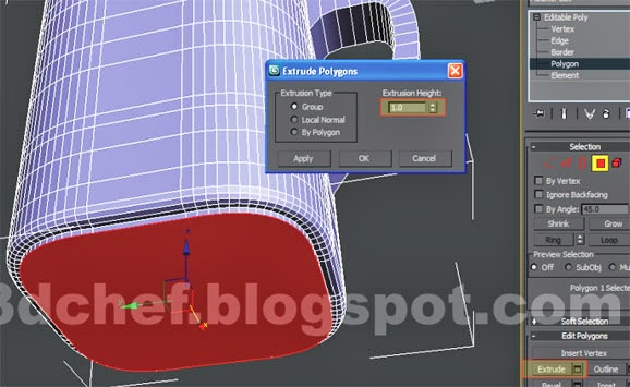 extrude 3ds max poly modifier