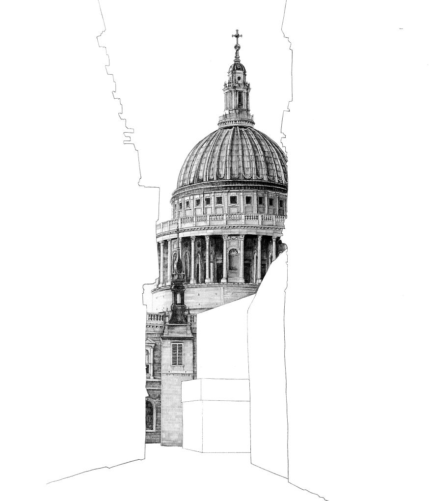 01-St-Paul-Cathedral-London-Minty-Sainsbury-Architectural-Street-and-Building-Drawings-www-designstack-co