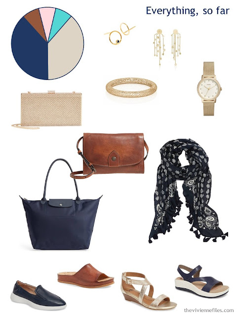 Accessory wardrobe for travel in gold, navy and cognac