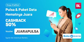 Bukalapak - Promo Pulsa Juara Cashback s.d 50% Pakai Dana