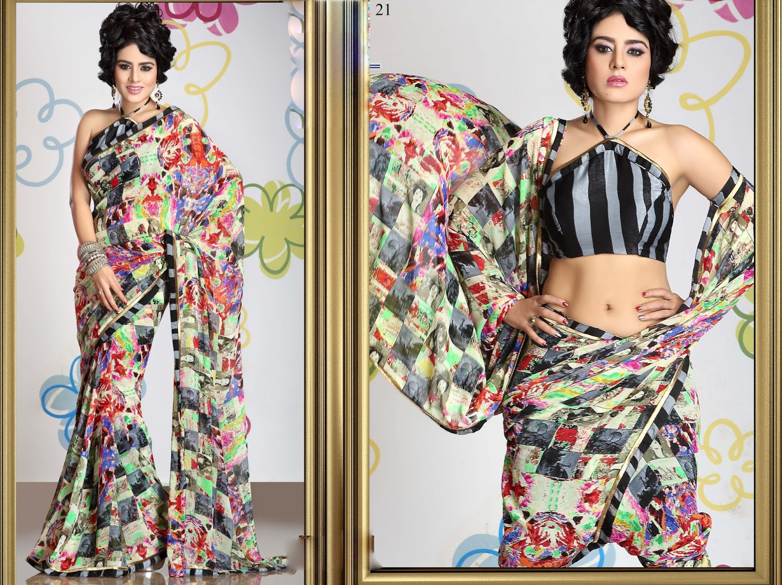 Anjali Vol 3-Viscos Bember With Lace & Stone Work With Art Silk Blouse Saree