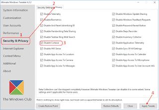 Ultimate Windows Tweaker for Windows 10 - Disabilitare Cortana