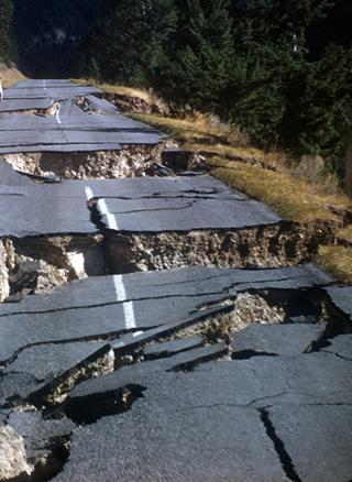 Liquefaction of sediments beneath the road  caused by magnitude 7.3 Hebgen Lake earthquake