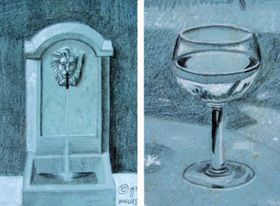 esquisse, fontaine au lion, lion, verre, verre a vin