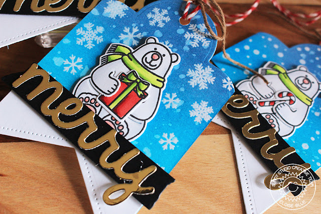 Sunny Studio Stamps: Snow Flurries & Frosty Flurries Polar Bear Snowy Background Tags by Eloise Blue