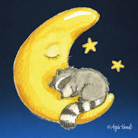 Kinderbuchillustration, Waschbär, niedlich, Bilderbuch, Tiere, Aquarell, Kinderlied, Mond, Sterne, Schlaflied