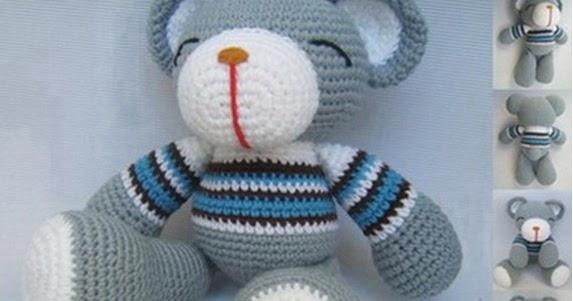 Amigurumi Maneki Neko Free Pattern : Grey Bear - Sayjai Amigurumi Crochet Patterns ~ K and J ...