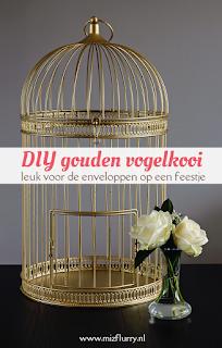 DIY gouden vogelkooi - leuk voor de enveloppen op een feestje