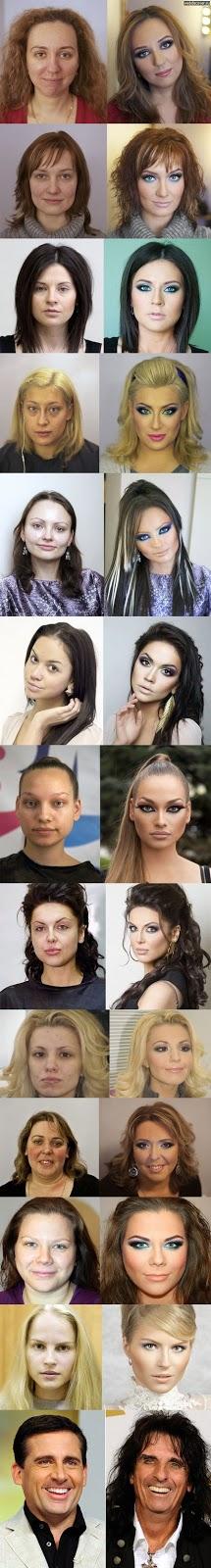Strippers antes y después del maquillaje