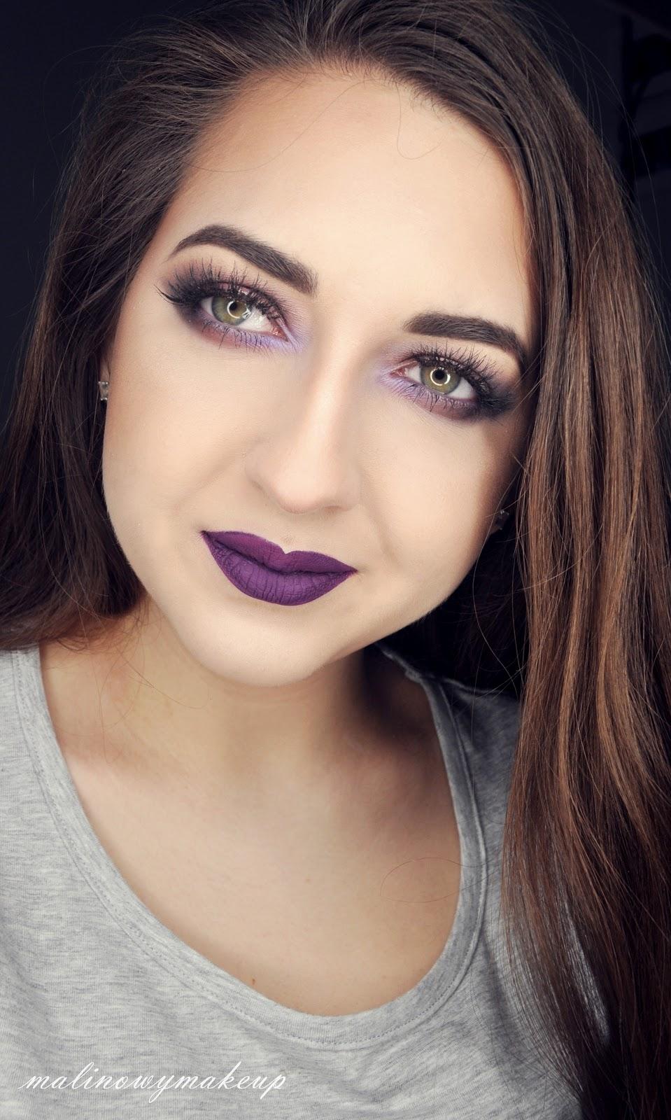 violet purple smokey eyes moky eye makijaż fioletowy fioletowe smokey makijaż do fioletowej sukienki karnawał malinowy makeup chocolate bon bons too faced inglot