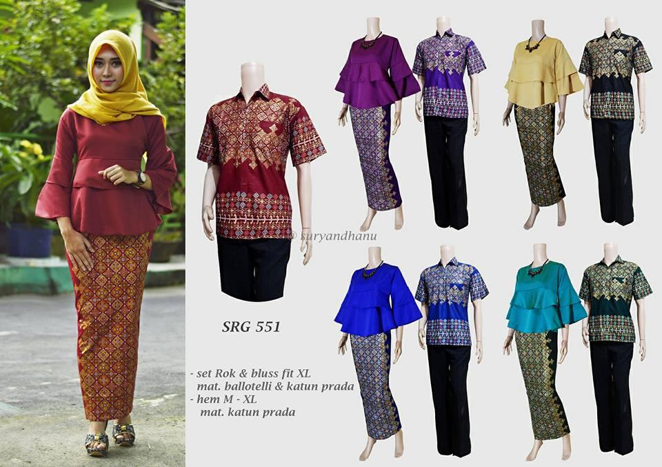 Baju Batik Couple Model Setelan Rok Span Dan Blus New Srg 551