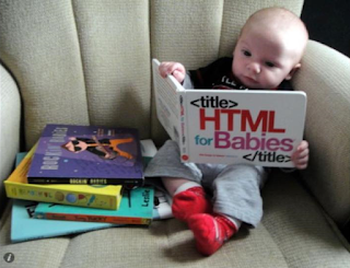 Infant reading book called 'HTML For Babies'
