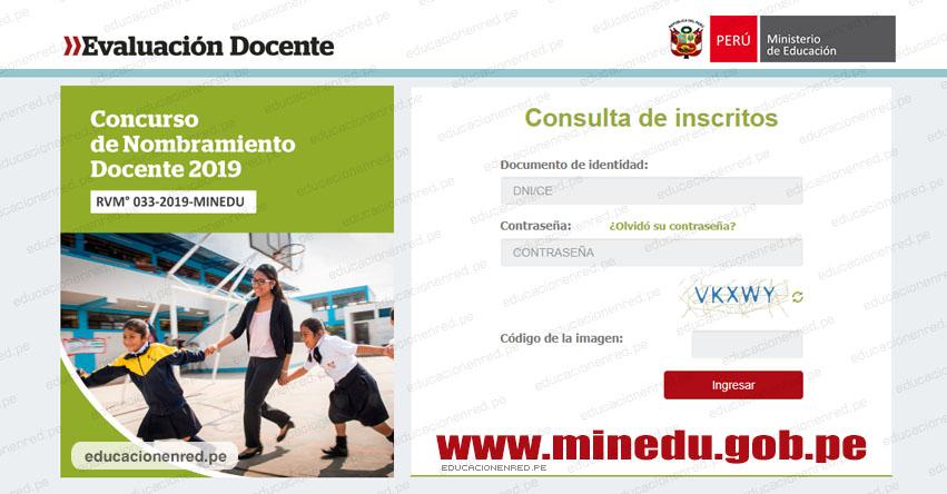 MINEDU: Consulta de Docentes Inscritos para el Concurso de Nombramiento 2019 [APLICATIVO] www.minedu.gob.pe