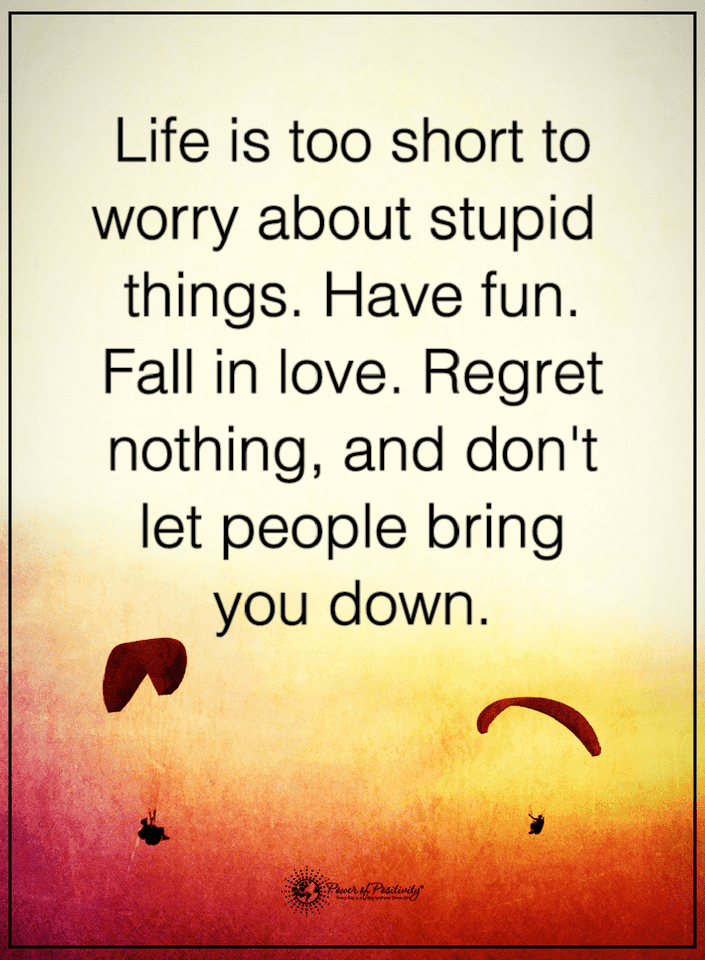 Life Quotes Life Is Too Short To Worry About Stupid Things Have Fun