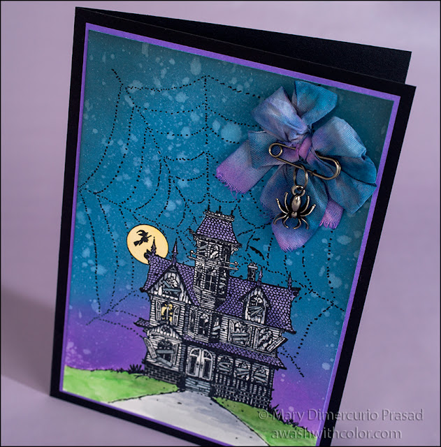 Rubbernecker Stamps Haunted House with Tim Holtz Distress Oxide Inks