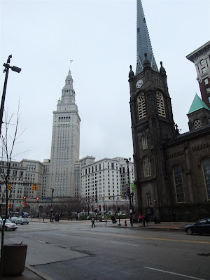 downtown cleveland ohio, library, tower