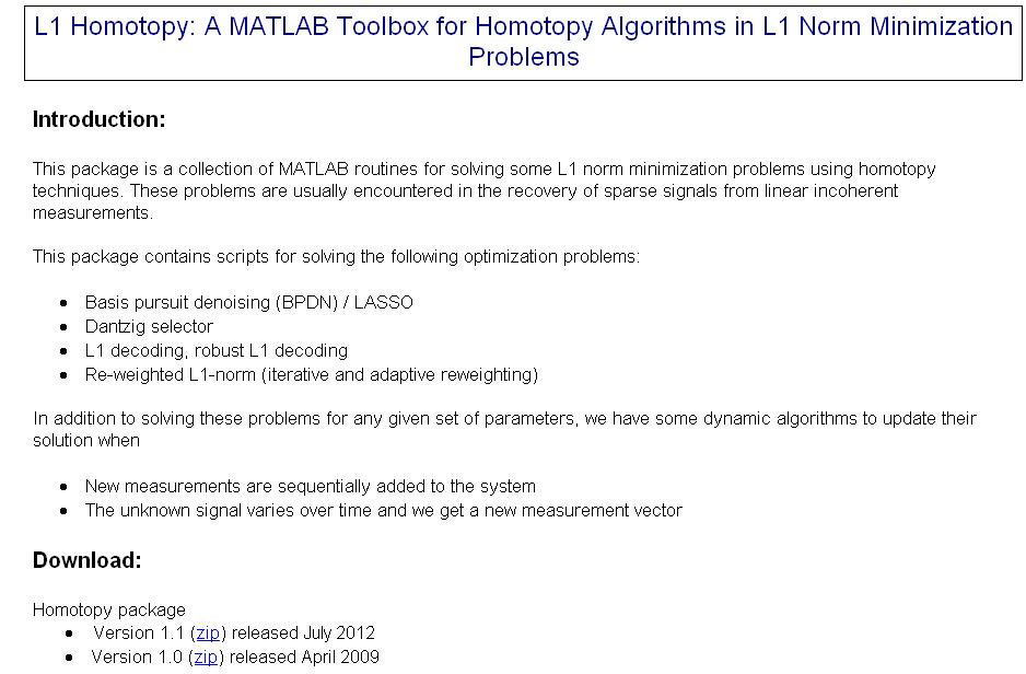Nuit Blanche: L1 Homotopy: A MATLAB Toolbox for Homotopy