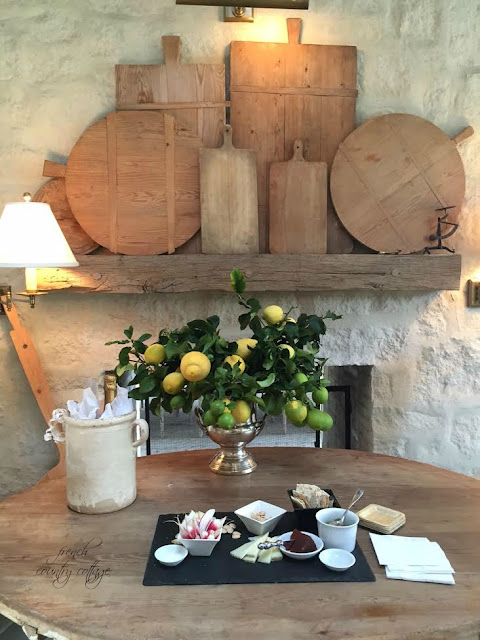 Collection of bread boards with lemon tree clippings