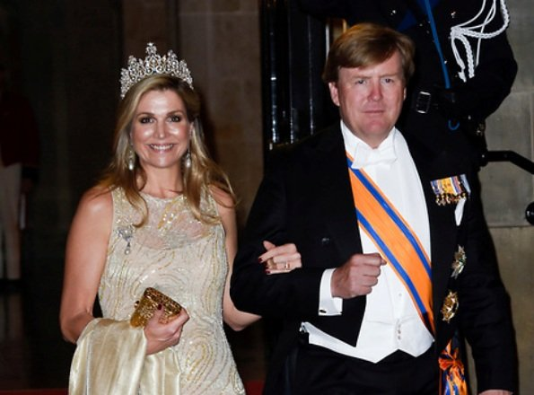 King Willem and Queen Máxima held a gala dinner for Corps Diplomatique at Royal Palace. Queen diamond tiara, Natan dress