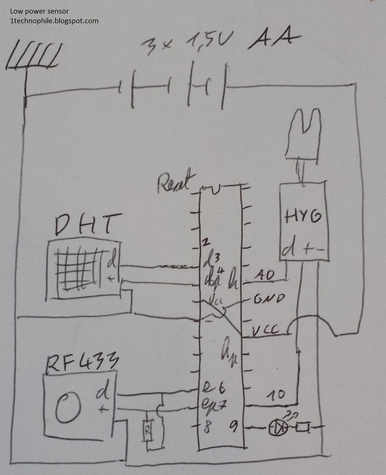 Low cost, low power 6uA garden 433Mhz sensor with temperature