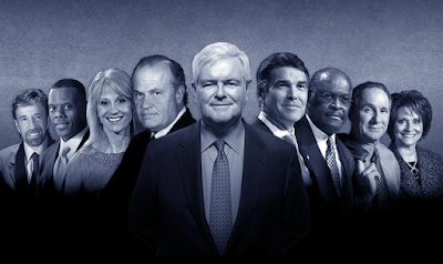 Team Newt Gingrich for President 2012 Chuck Norris Ricky Perry Herman Cain