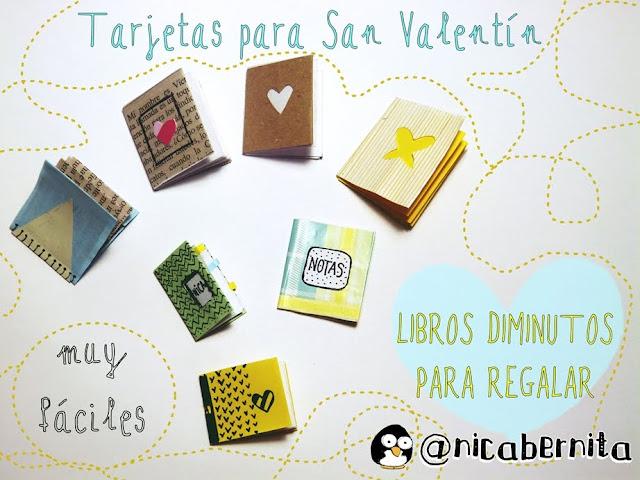 tarjetaso etiquetas en forma de libro diminuto para tus regalos de San Valentín Nica Bernita