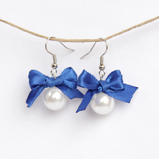 DIY pearl and bow earrings