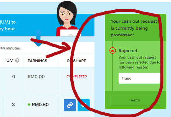 Pertama Kali Income 8Share Kena Rejected