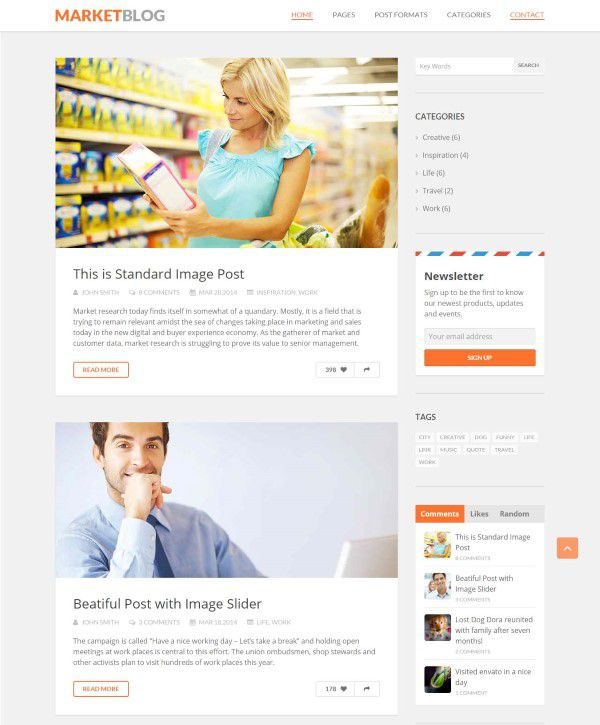 MarketBlog theme simple design