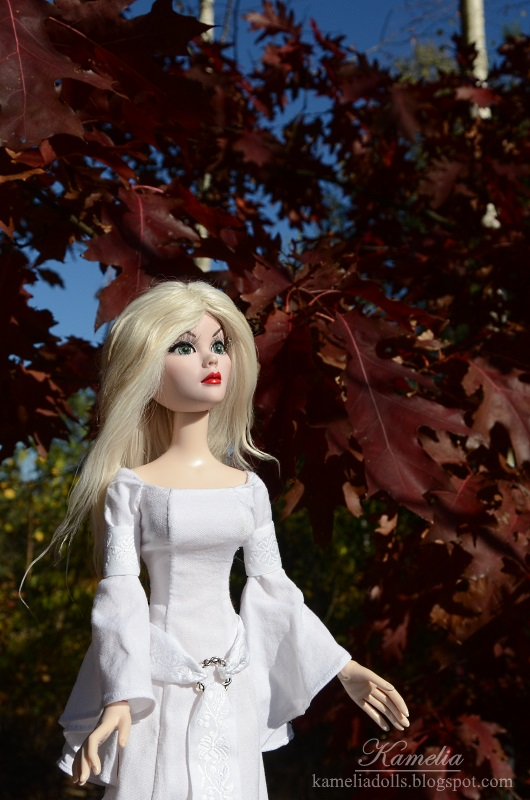 White druid robe for Evangeline Ghastly doll