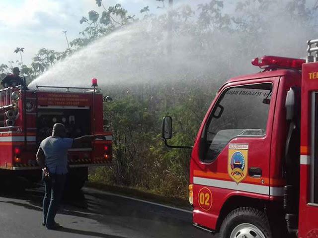 Armada Damkar Padamkan Kebakaran Lahan di Sifnana