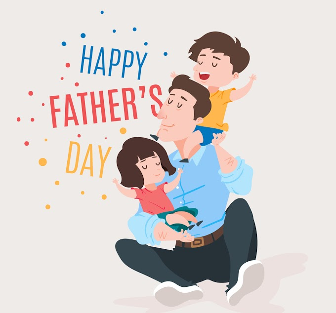father's day 2019 Creative father's day father and son three people vector