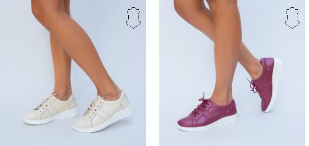 Pantofi casual de femei grena, bej din piele naturala la reducere