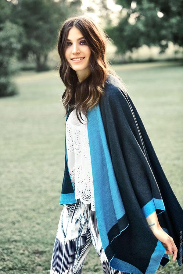 Moda mujer invierno 2017. Moda 2017. Ropa de moda ruanas y ponchos invierno 2017.