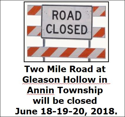 6-18/19/20 Annin Township Road Closure