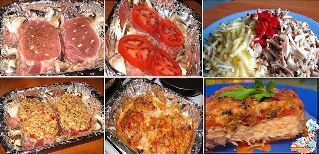 рецепт отбивных с грибами и сыром в духовке