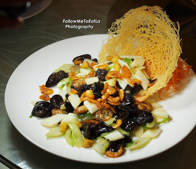 Stir Fried Celery & Baby Black Fungus With Wax Meat & Fresh Huai Shan  RM 38 per portion