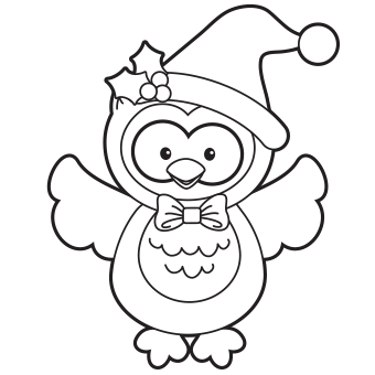 Christmas owl coloring page 1