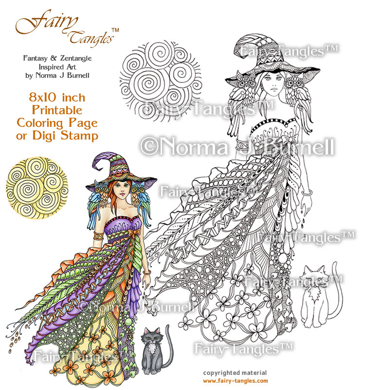windy witch 8x10 inch printable coloring page