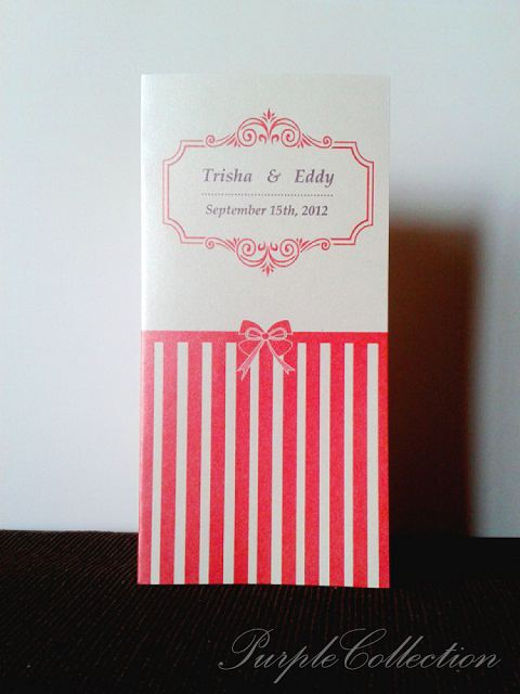 Red Stripes Wedding Invitation Card, red stripes card, stripes card, wedding invitation card, malay wedding carrds, white perfume pearl card, classic fold card, red card