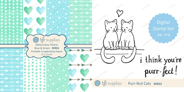 Valentine scrapbooking papers and I think you're purr-fect digital stamps by hazelfishercreations