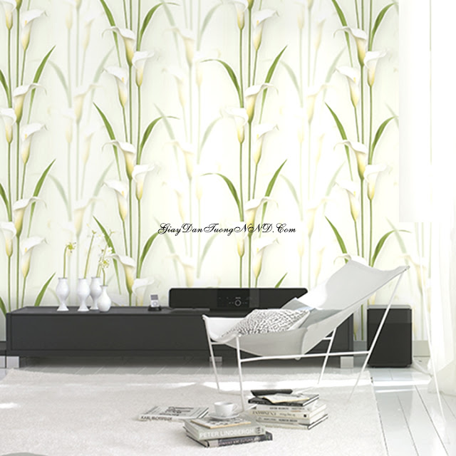 Giấy dán tường hình cành hoa loa kèn