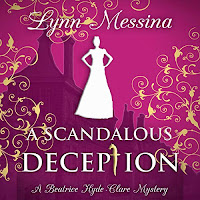A Scandalous Deception: A Regency Cozy audiobook cover. The white silhouette of a Regency lady is superimposed upon an image of grand buildings and adorned with gold scrollwork patterns. The background is a deep pink.