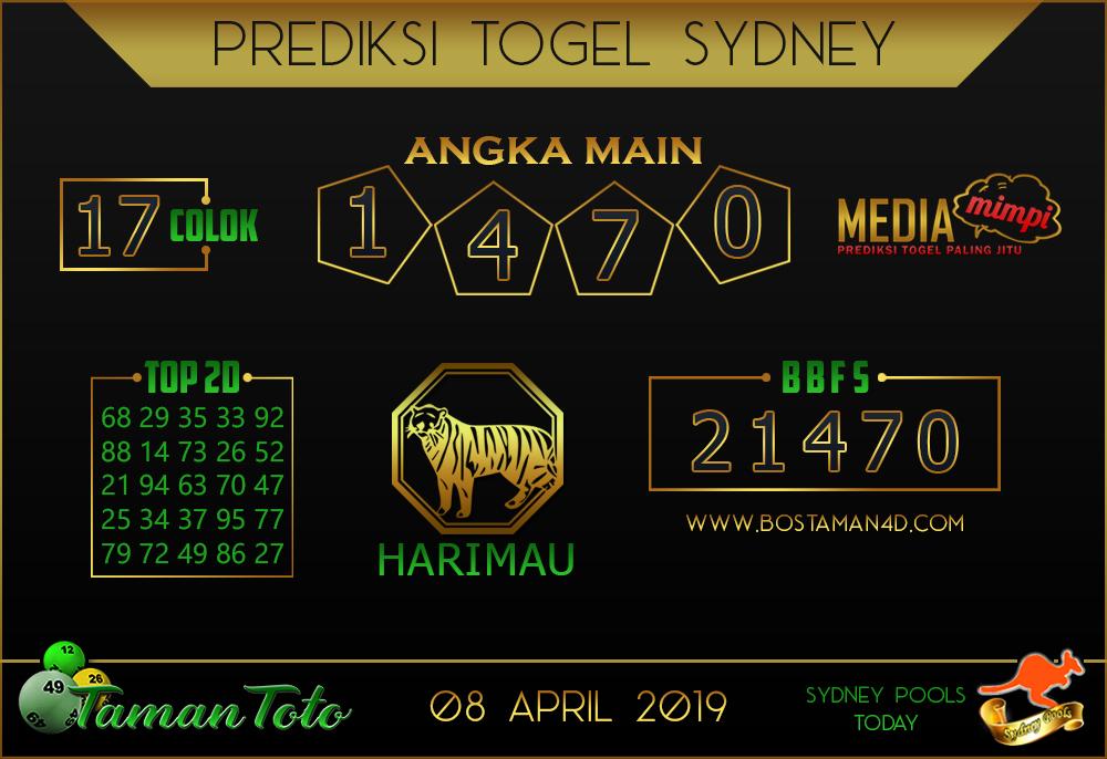 Prediksi Togel SYDNEY TAMAN TOTO 08 APRIL 2019