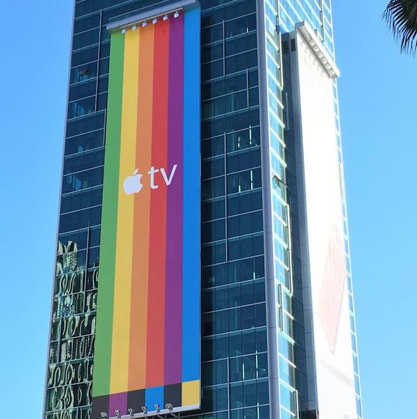 Campanha de publicidade ao ar livre para a Apple TV
